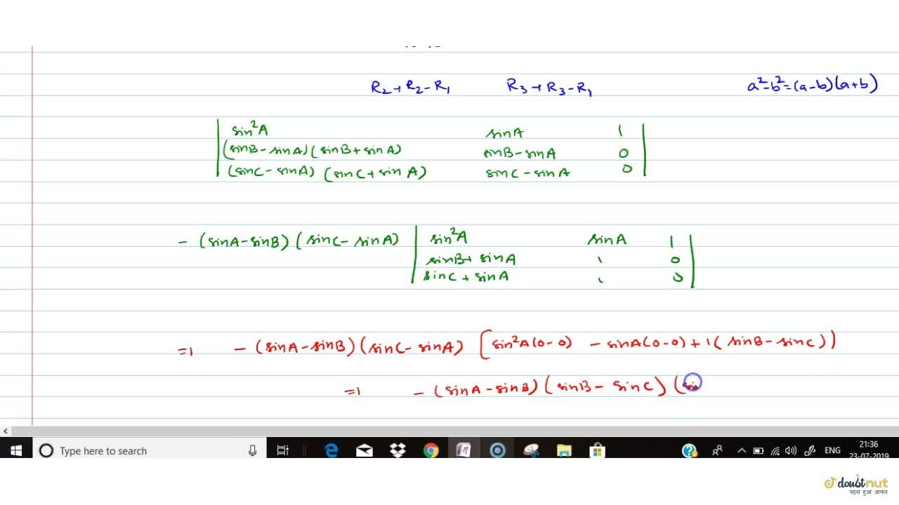 Solution for |[sin^2A, sinA, cos^2A] , [sin^2B, sinB, cos^2B]