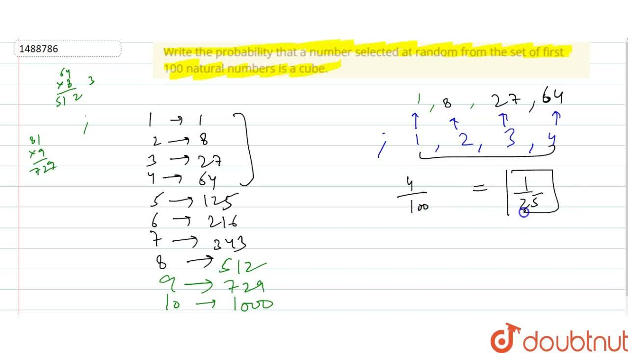 Solution for Write the probability that a number selected at ra