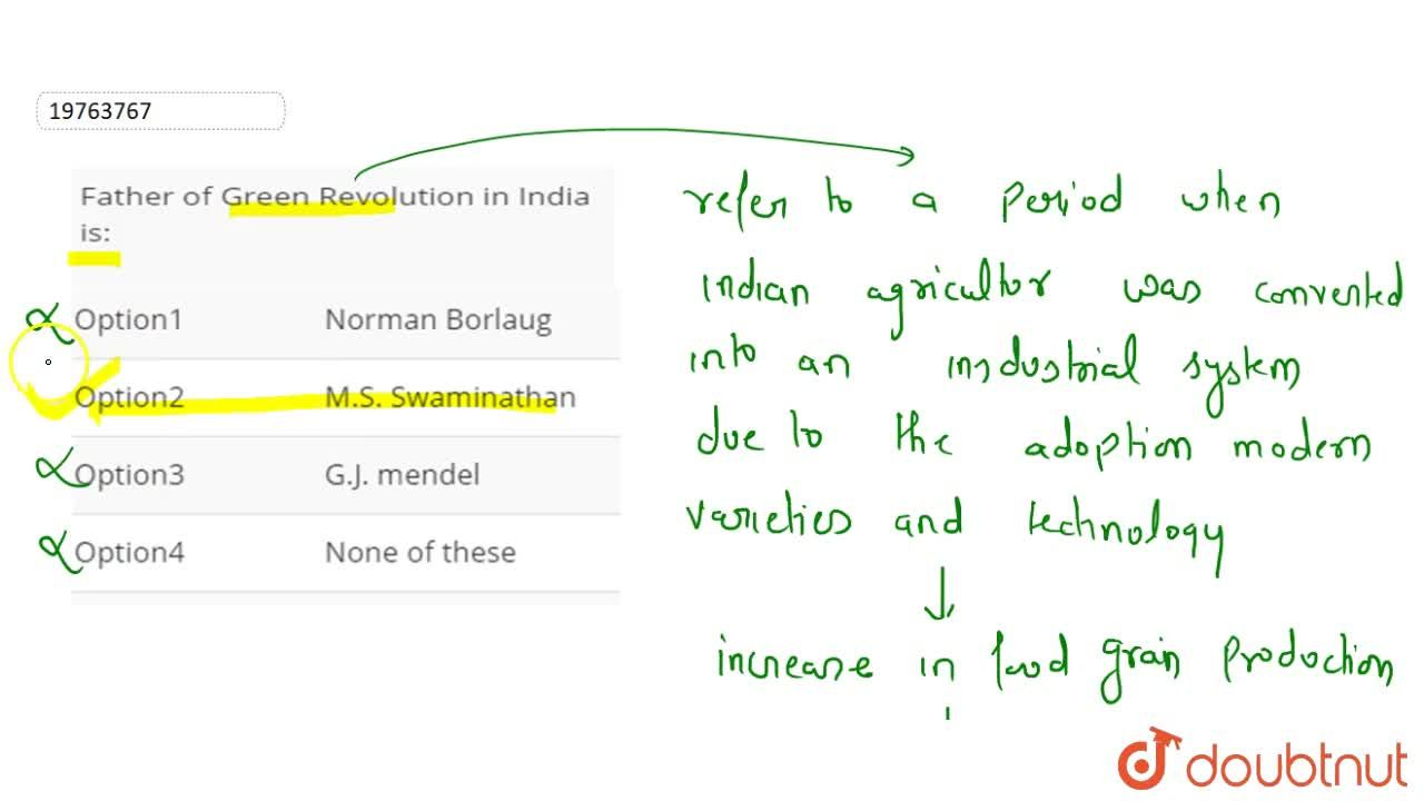 Solution for Father of Green Revolution in India is:
