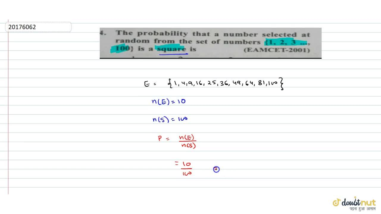 Solution for The probability that a number selected at  random