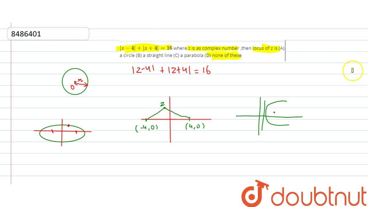 Solution for |z-4|+|z+4|=16 where z is as complex number ,the