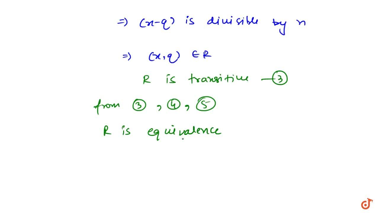 Solution for Let n be a positive integer. Prove that the rel