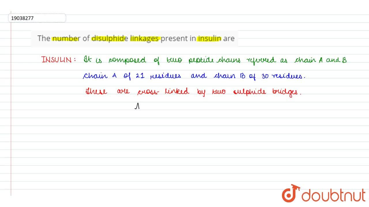 Solution for The number of disulphide linkages present in insul