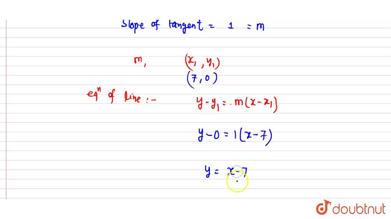 Solution for Find the equation of the tangent to the curve y=(