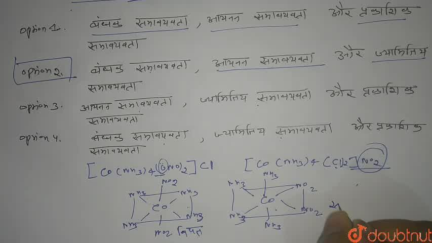 Solution for [Co(NH_(3))_(4) (NO_(2))_(2)] Cl प्रदर्शित करता