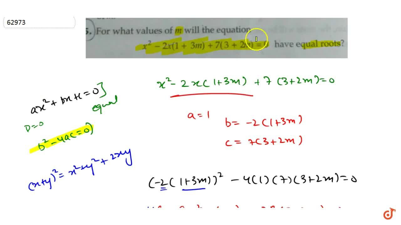 Solution for For what values of m will the equation x^2-2x(1+3