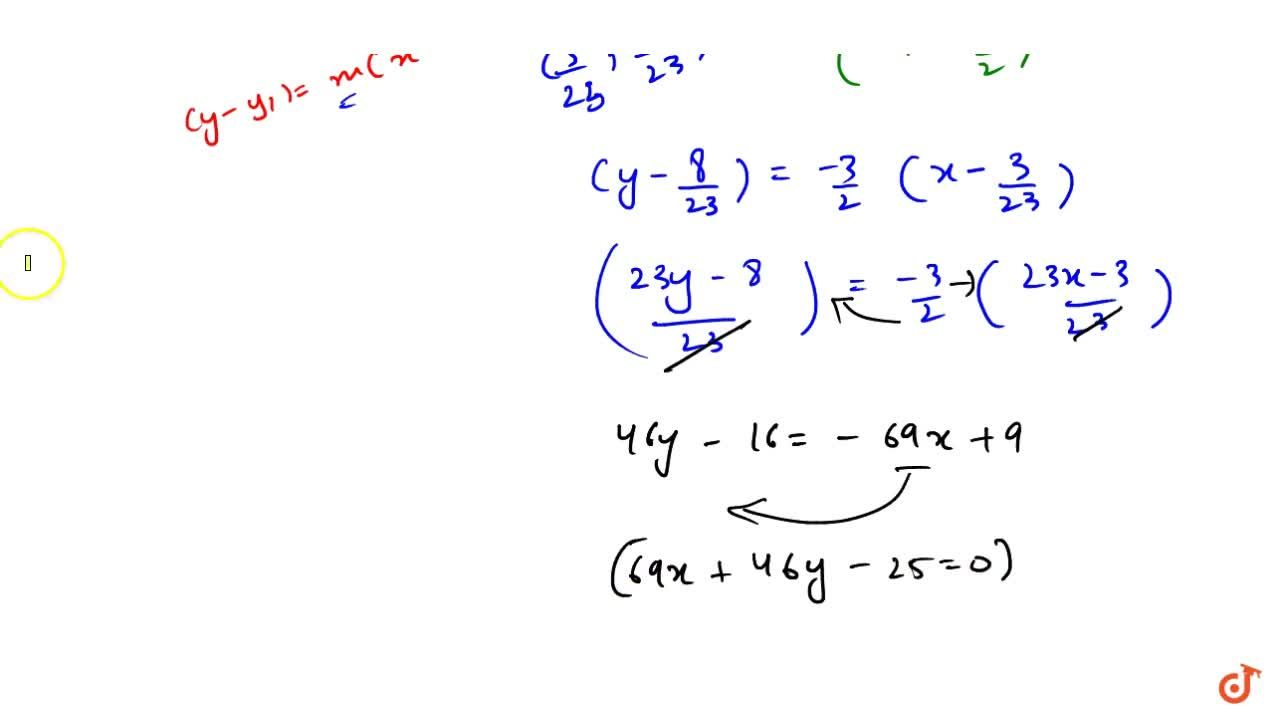 Solution for Find the equation of the line through the point of
