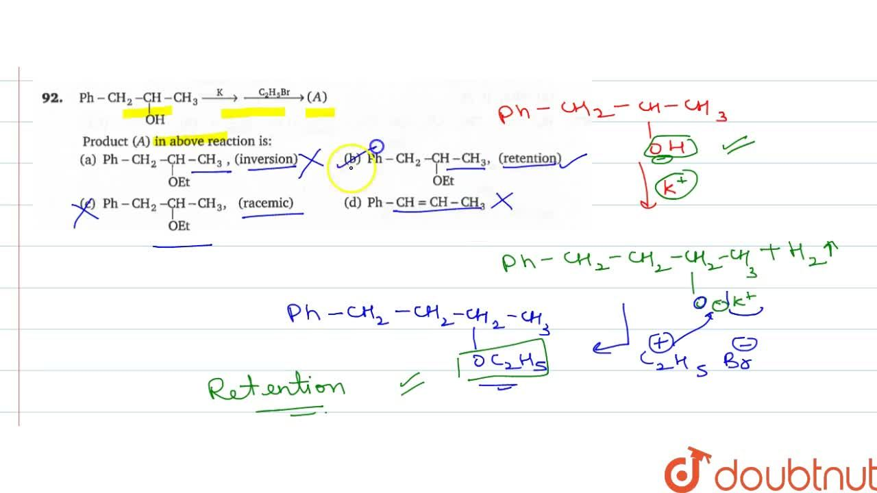 Solution for Ph-CH_(2)-underset(OH)underset(|)(CH)-CH_(3) over