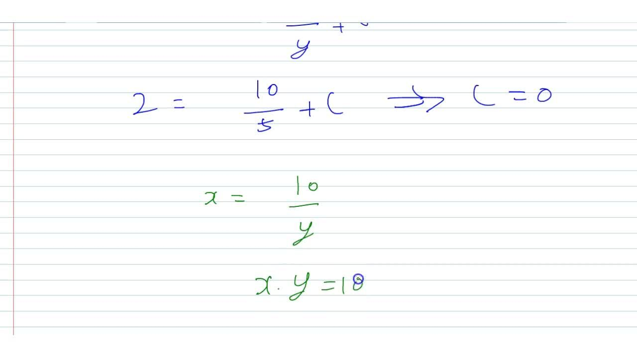 Solution for The equation of the curve, passing through (2, 5)