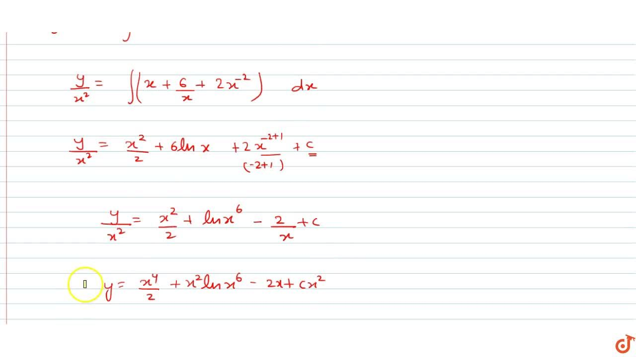 (x dy),(dx)=2y+x^4+6x^2+2x , x=0 Do yourself - 11: Solve the following differential equations: xdy-2y +x4 + 6x2 + 2x, x # 0 dx
