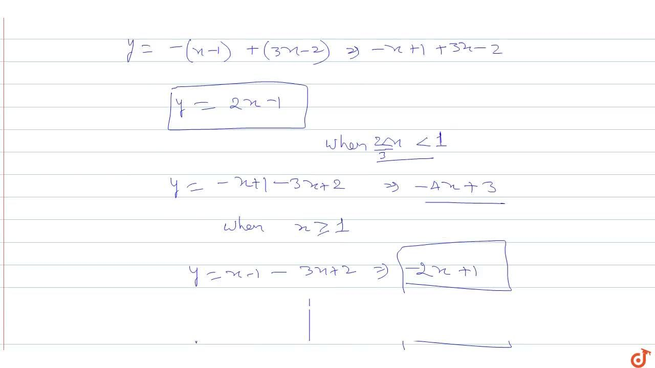 Solution for Draw Graph  y=|x-1|-|3x-2|