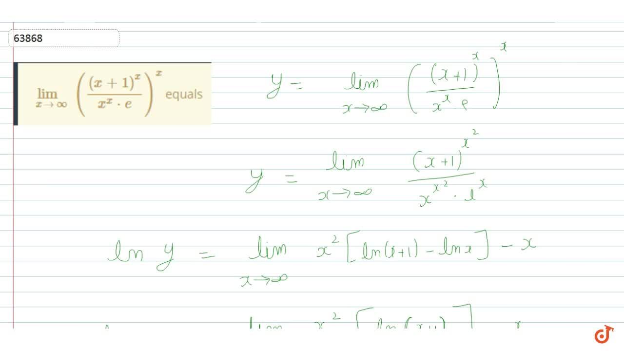 Solution for lim_(x->oo)(((x+1)^x),(x^x*e))^x equals