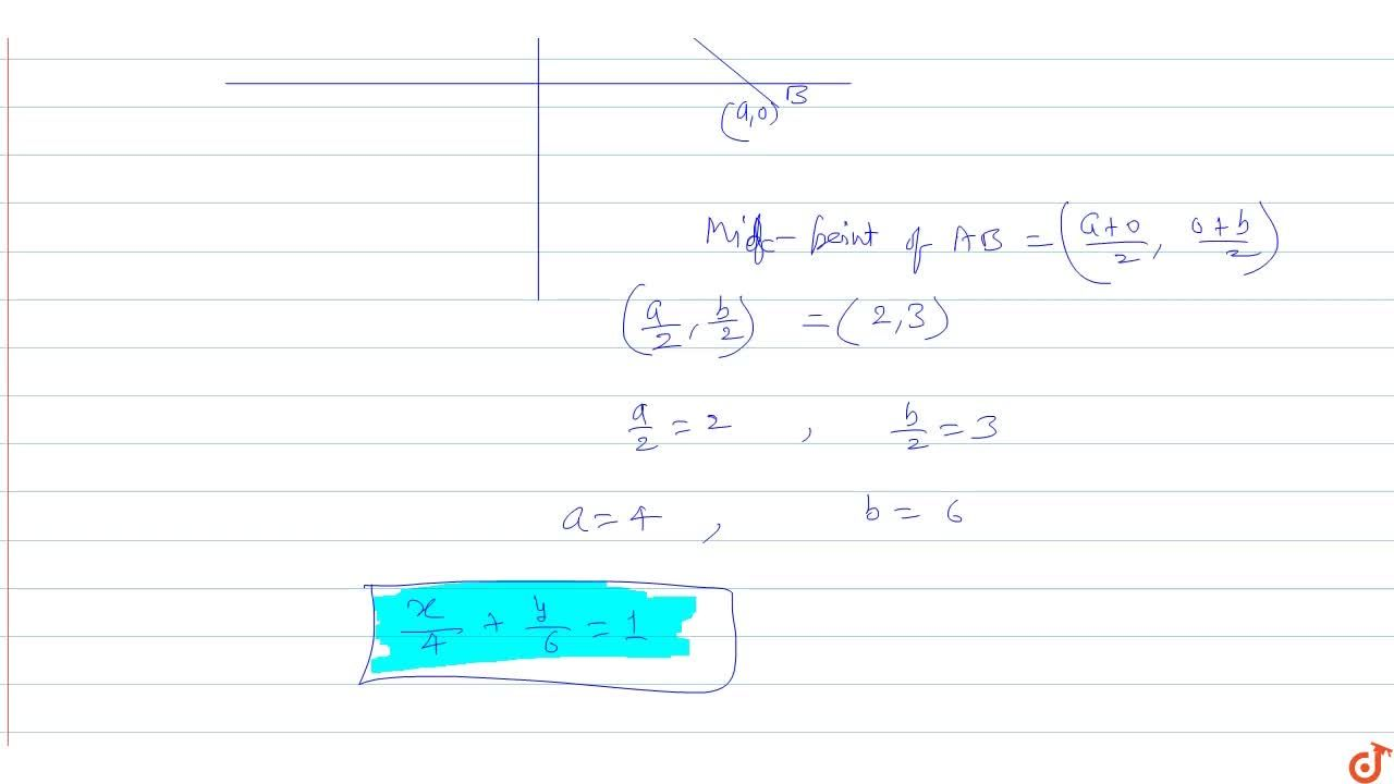 Solution for A straight line passes through the point (2, 3)