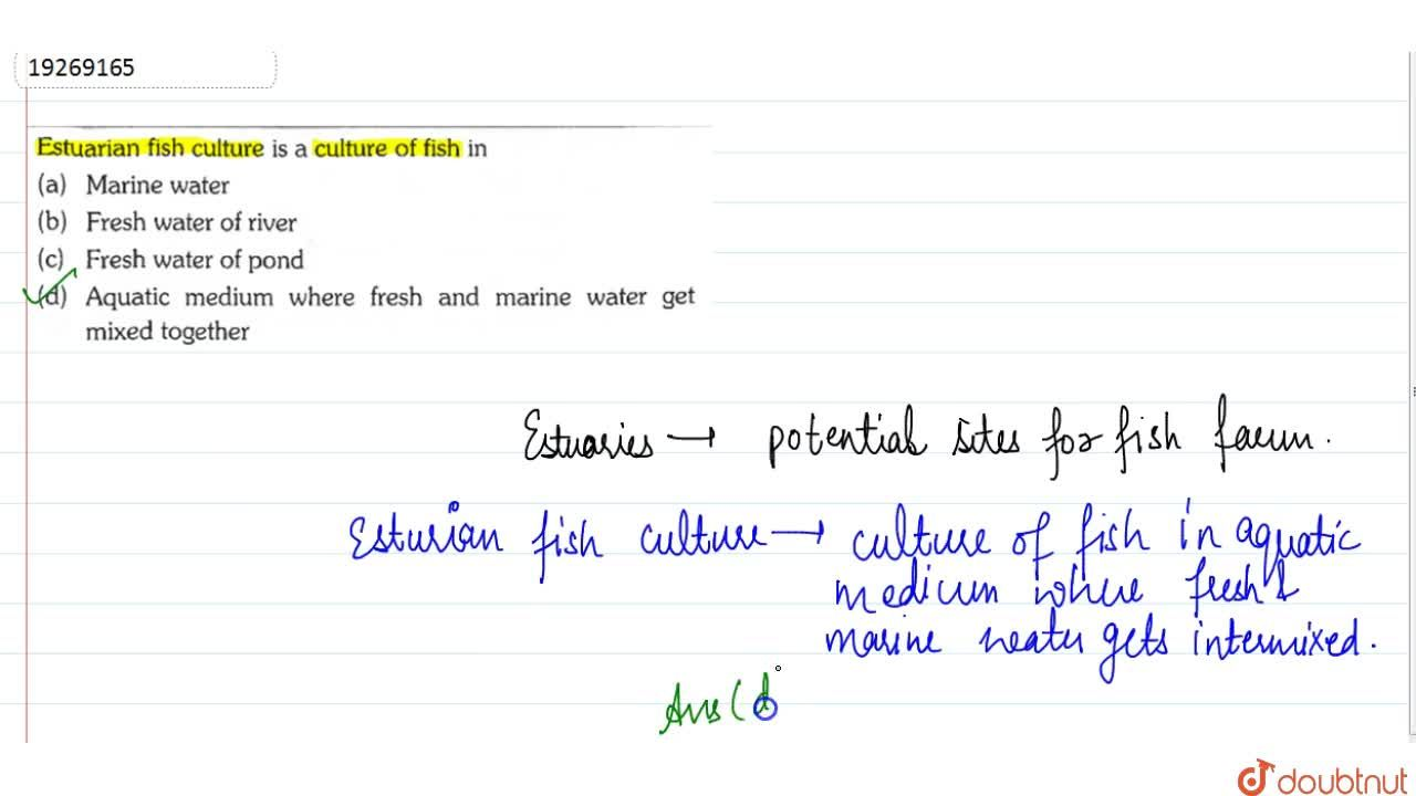 Solution for Estuarian fish culture is a culture of fish in