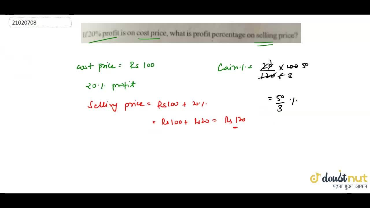 Solution for  If 20% profit is on cost price,what is profit per