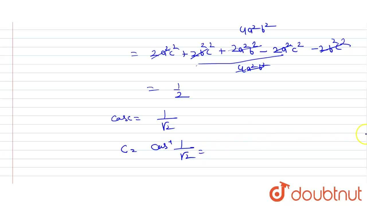 Solution for In a triangle ABC if a^4+b^4+c^4=2c^2(a^2+b^2),