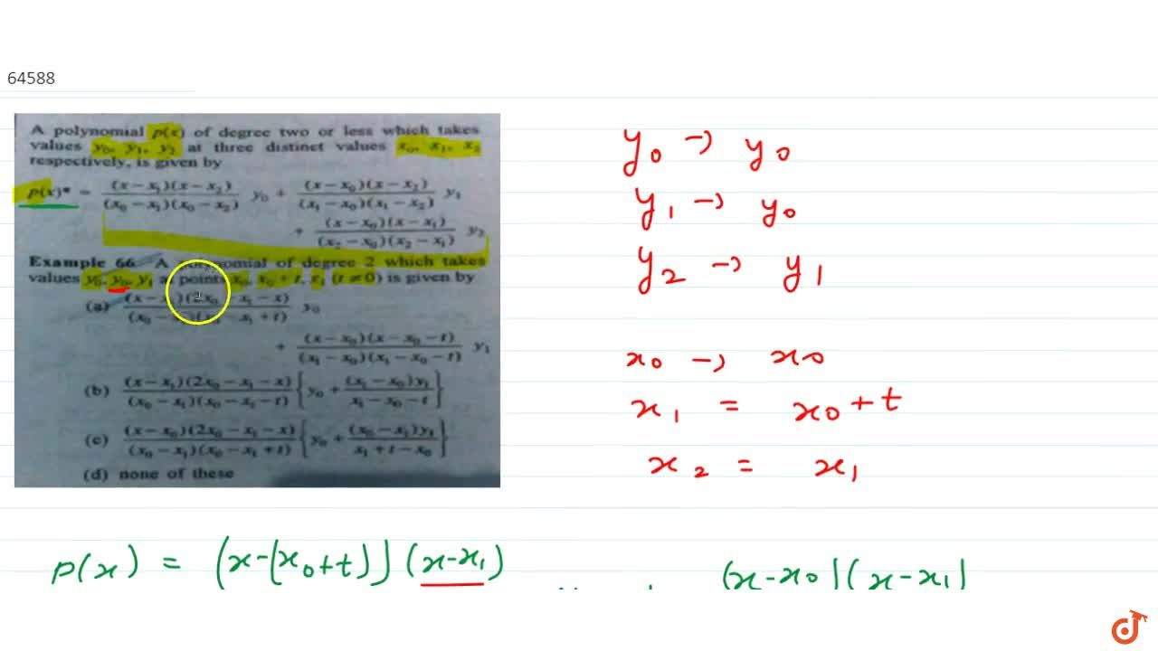 Solution for A polynomial of degree 2 which takes values  y_0,