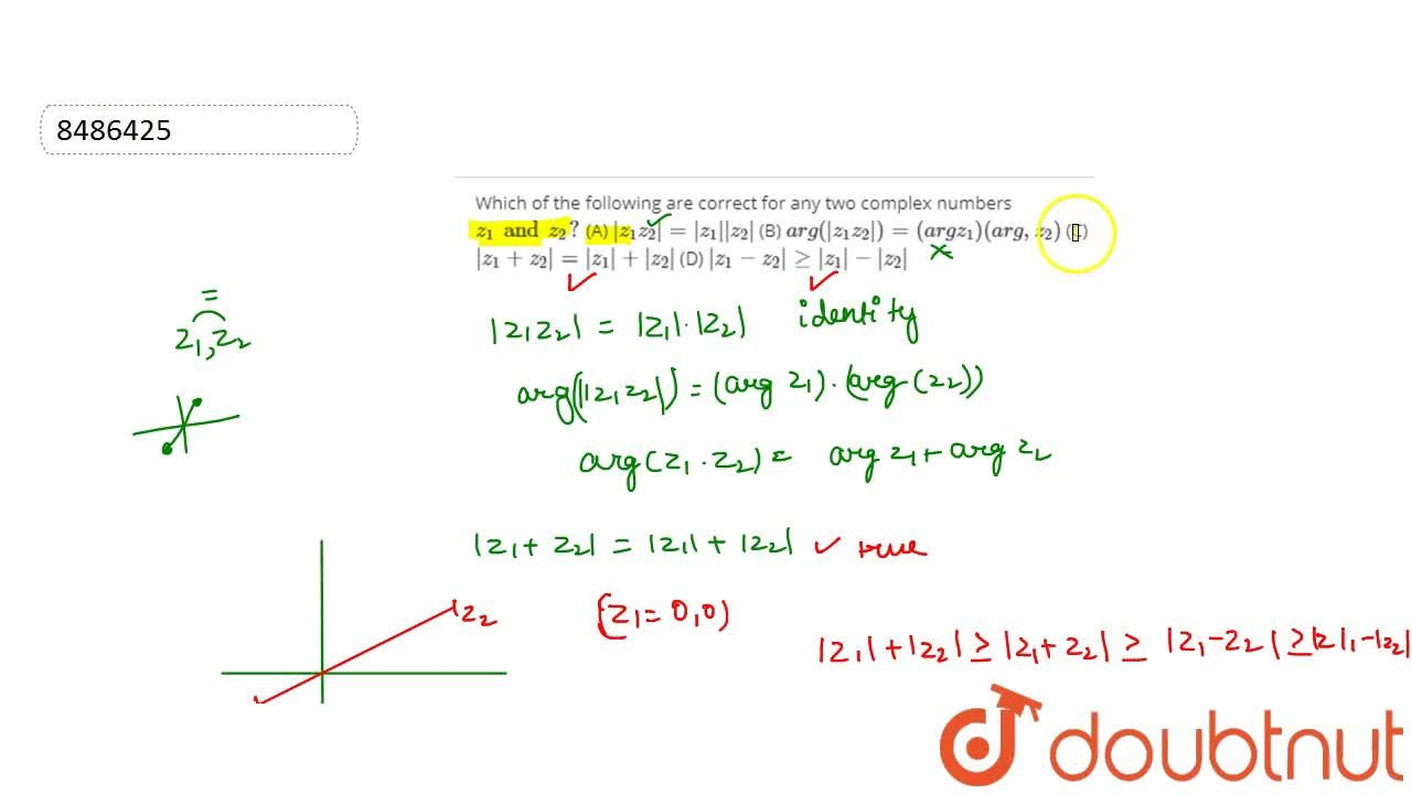 Solution for Which of the following are correct for any two com