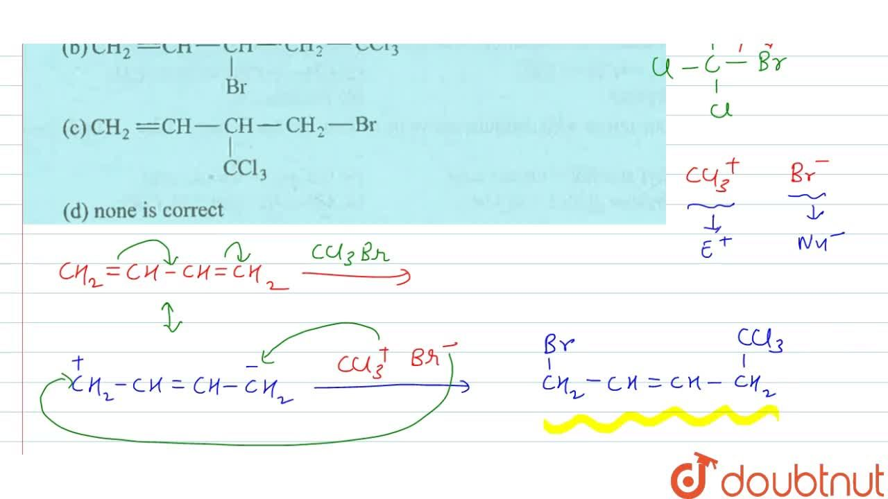 Solution for CH_(2)=CH-CH=CH_(2)overset(CCI_(3)Br)rarr produc