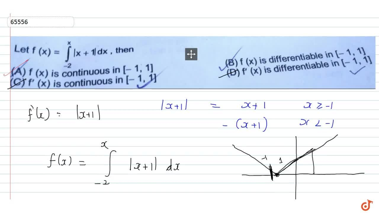 Solution for Let f(x) = int_(-2)^x|x+1| dx, then