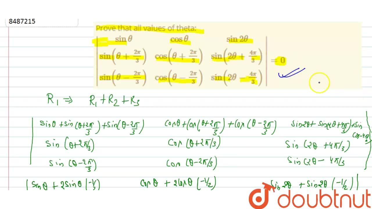 Solution for Prove that all values of theta: |(sintheta, costh