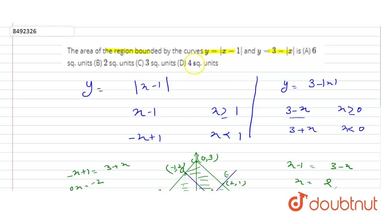 Solution for The area of the region bounded by the curves y=|x