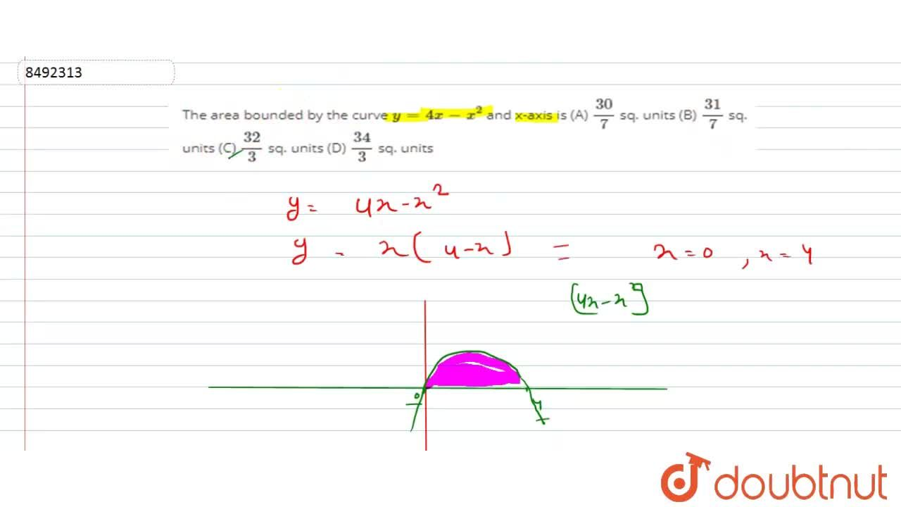 Solution for The area bounded by the curve y=4x-x^2 and x-axi
