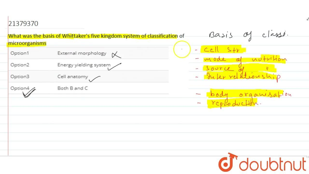 Solution for What was the basis of Whittaker's five kingdom sys