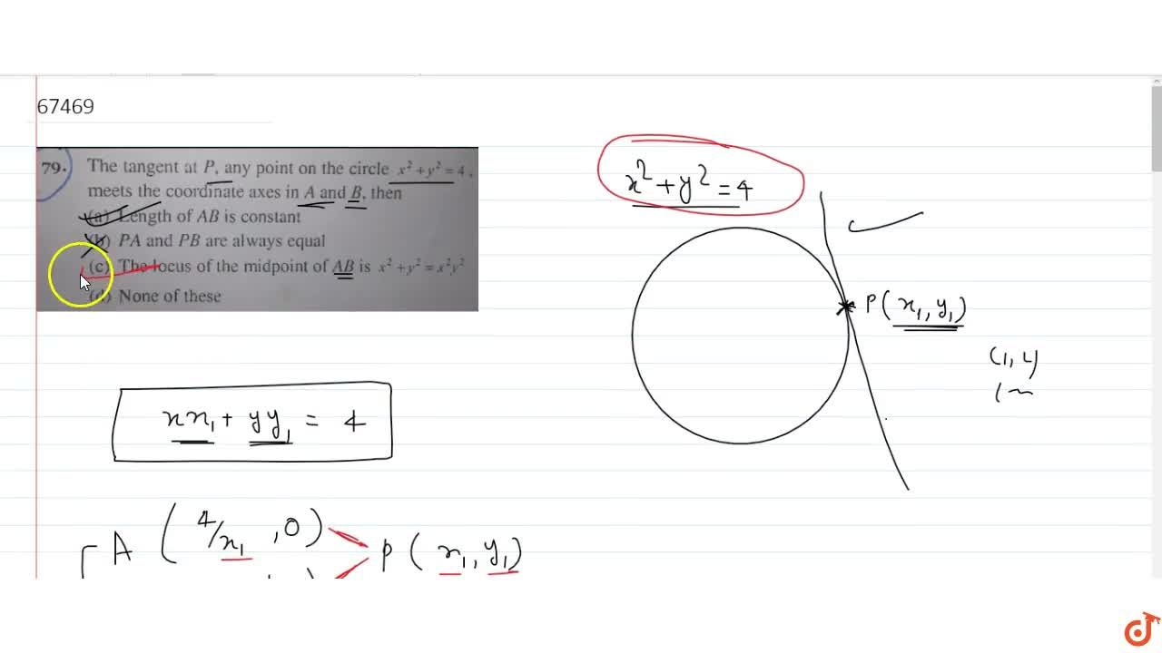 Solution for The tangent at P, any point on the circle x^2 +