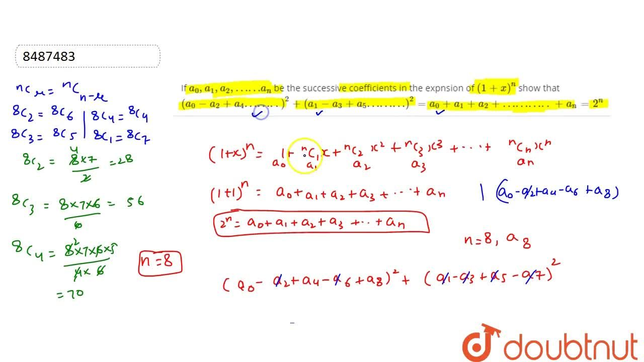 Solution for If a_0,a_1,a_2,……a_n be the successive coefficie