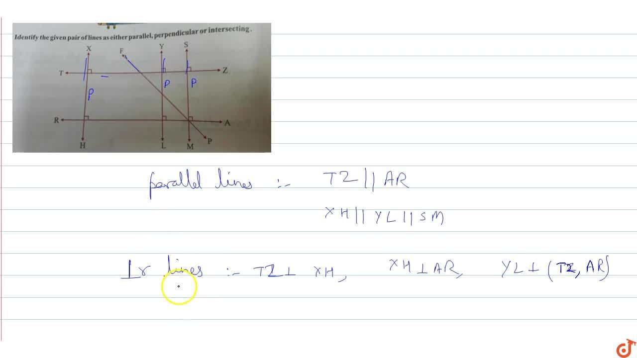 Identify the given pair of lines as either parallel, perpendicular or intersecting.