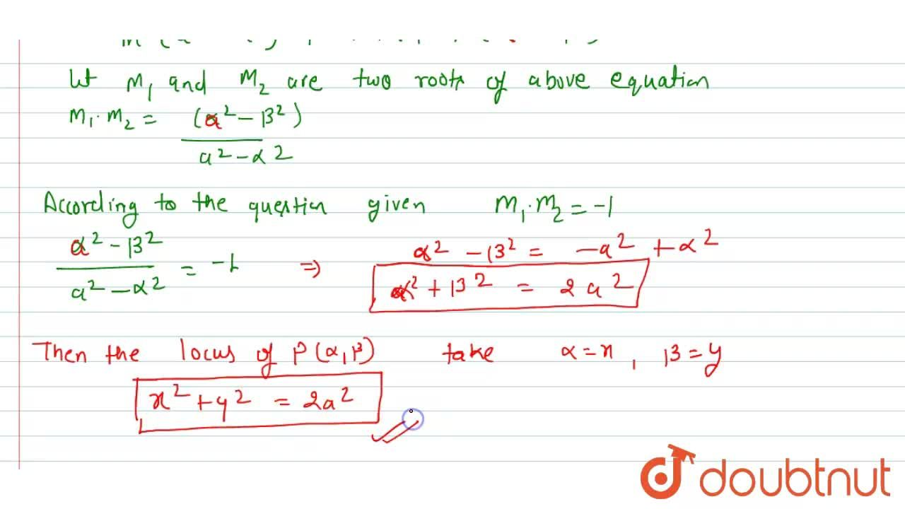 Solution for Show that the locus of points from which the tange