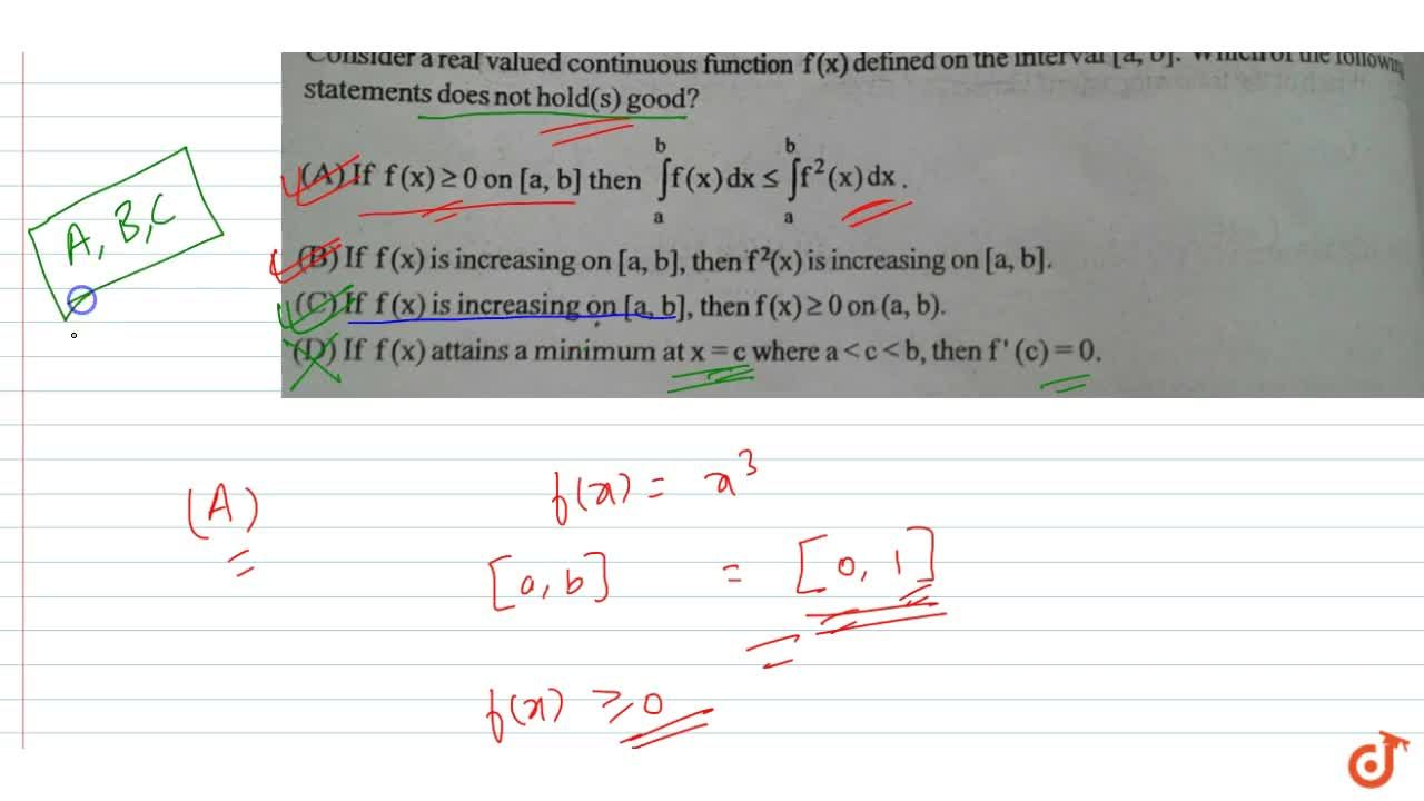 Solution for Consider a real valued continuous function f(x) de