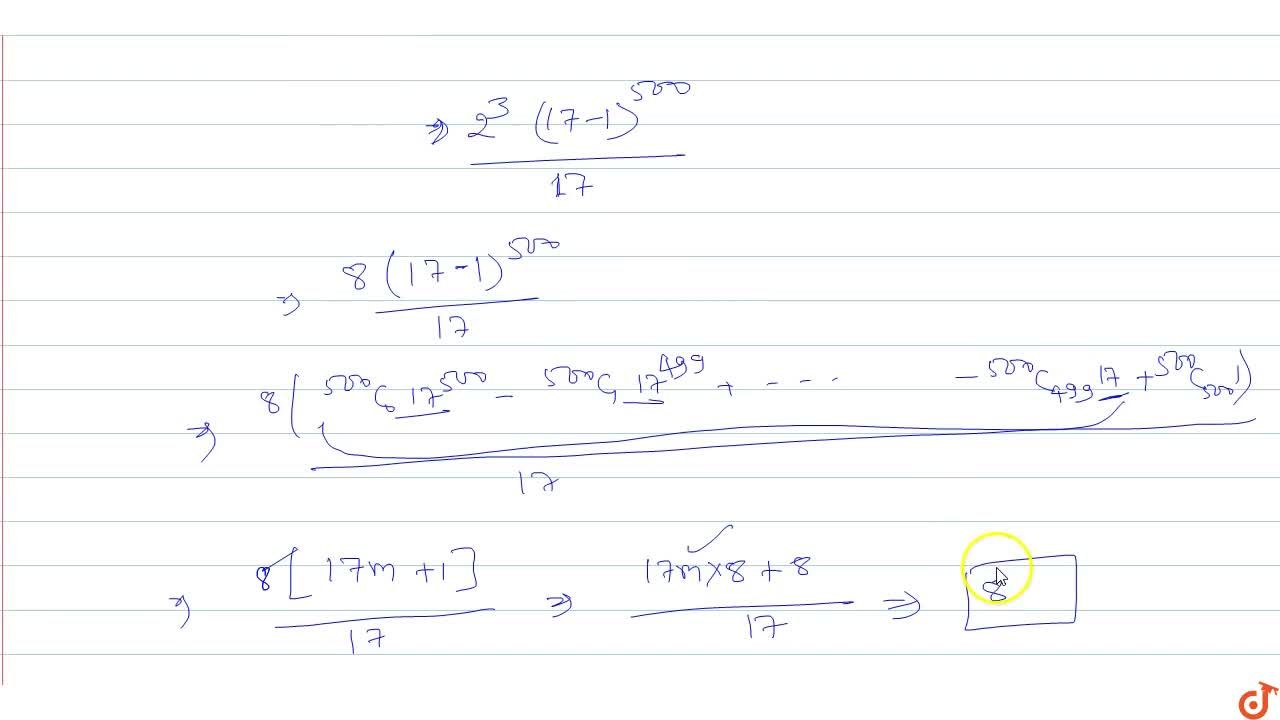 Solution for  The remainder when 2^(2003) is divided by 17 is