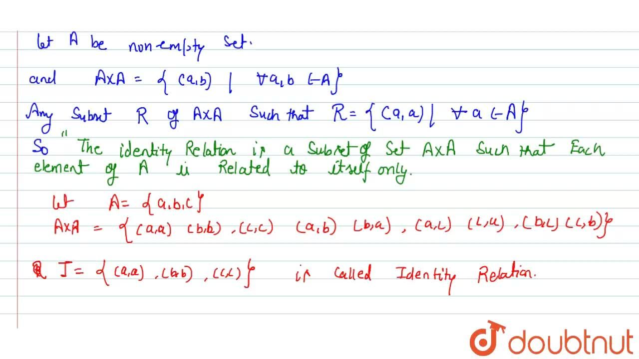 Solution for Identity relation