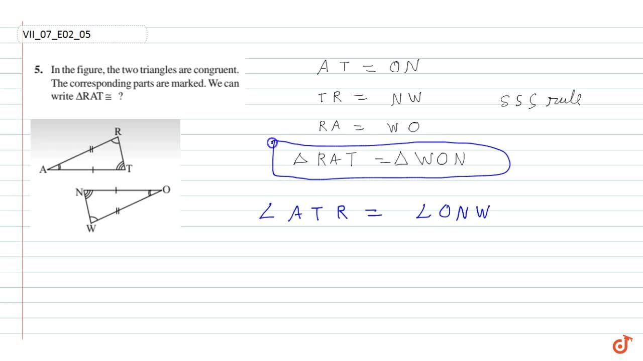 In the figure, the two triangles are congruent.The corresponding parts are marked. We can Write  Delta RATE ?