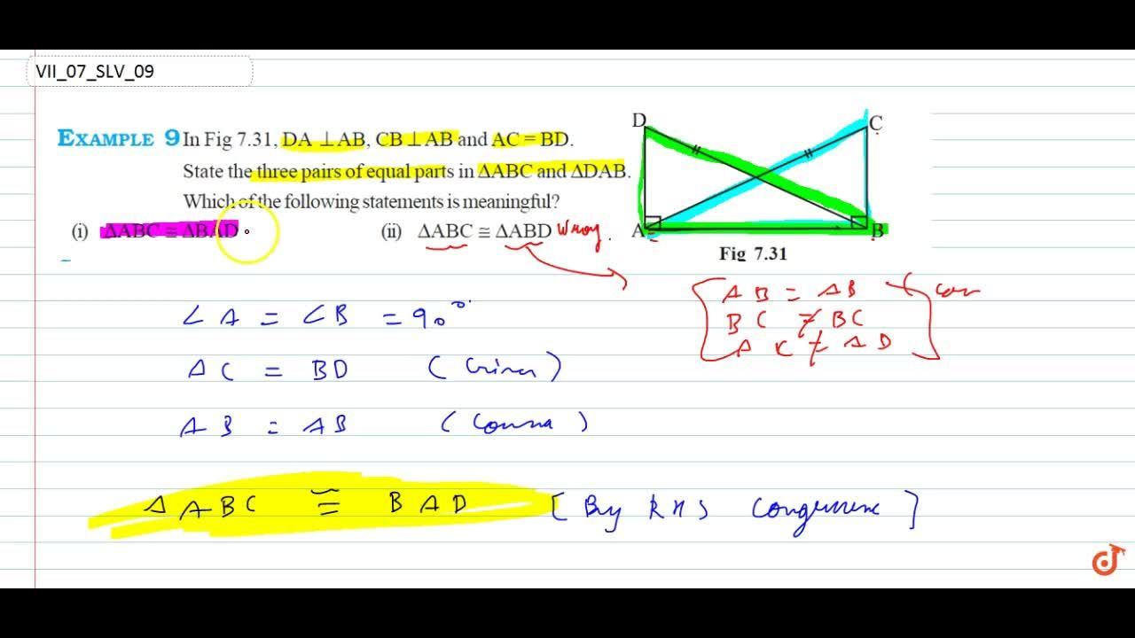 Solution for In Fig 7.31, DA _|_ AB, CB _|_ AB and AC = BD. S