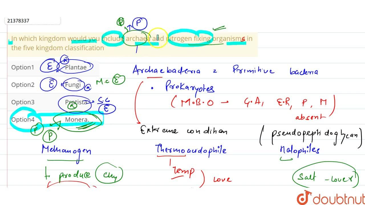 Solution for In which kingdom would you include archaea and nit