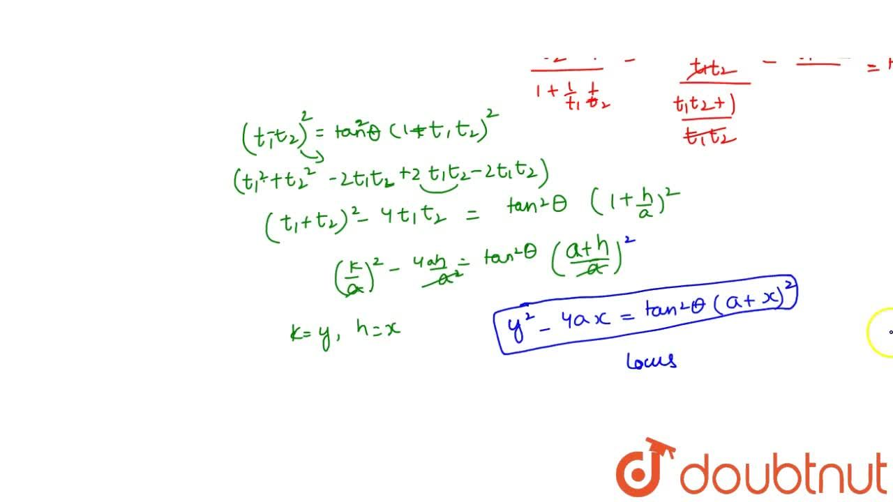 Solution for Find the locus of point of intersection of tangent