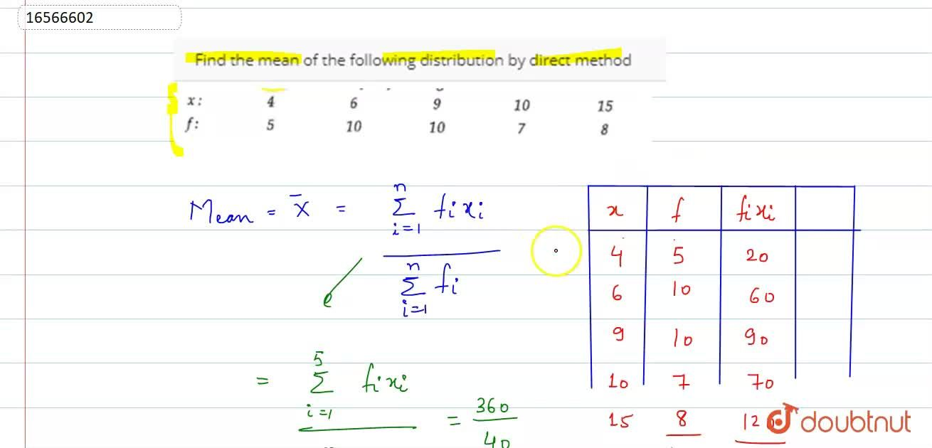 Find the mean of the following distribution by direct method