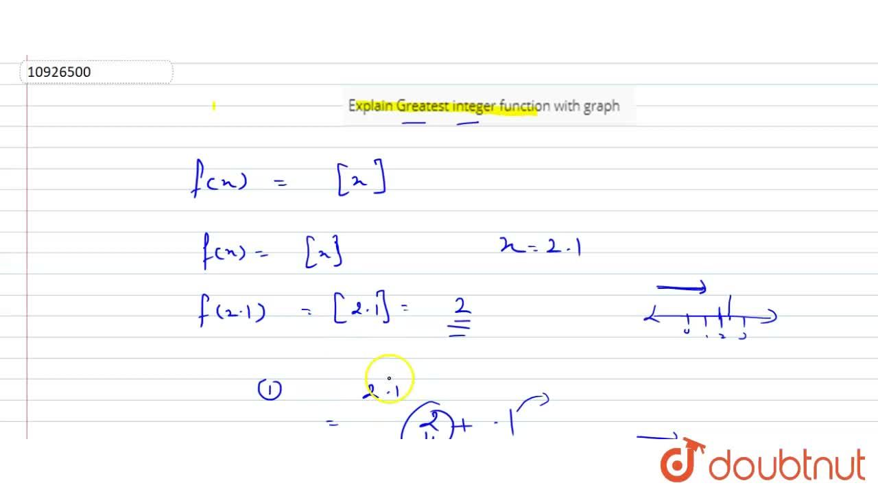 Solution for Explain Greatest integer function with graph