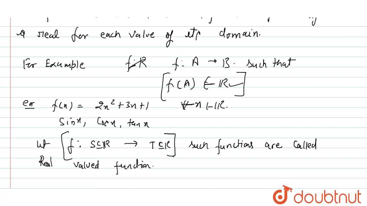 Explain Real valued function with some examples.
