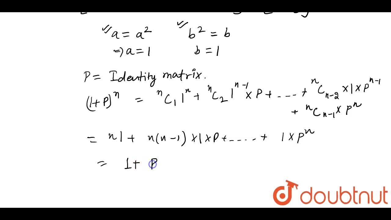 Solution for  Let P be an m xx m matrix such that P^2 = P