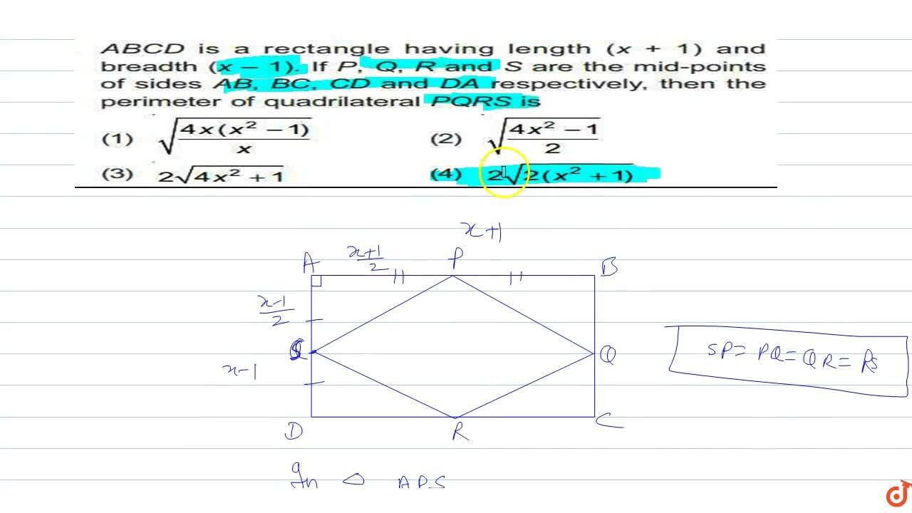 Solution for  19. ABCD is a rectangle having length (x 1) and b