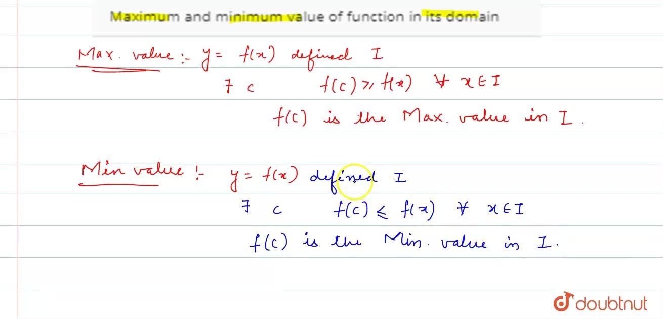 Solution for Maximum and minimum value of function in its domai