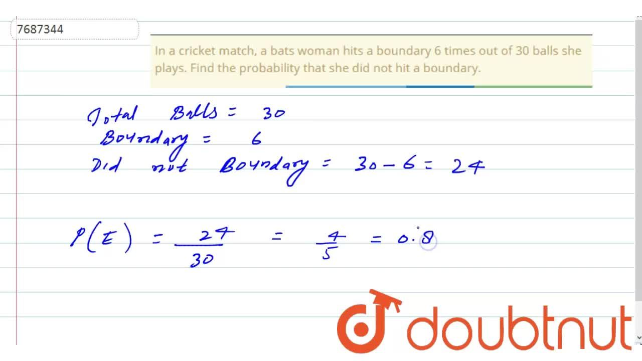 In a cricket match, a bats woman hits a boundary 6 times out of 30 balls she plays. Find the probability that she did not hit a boundary.
