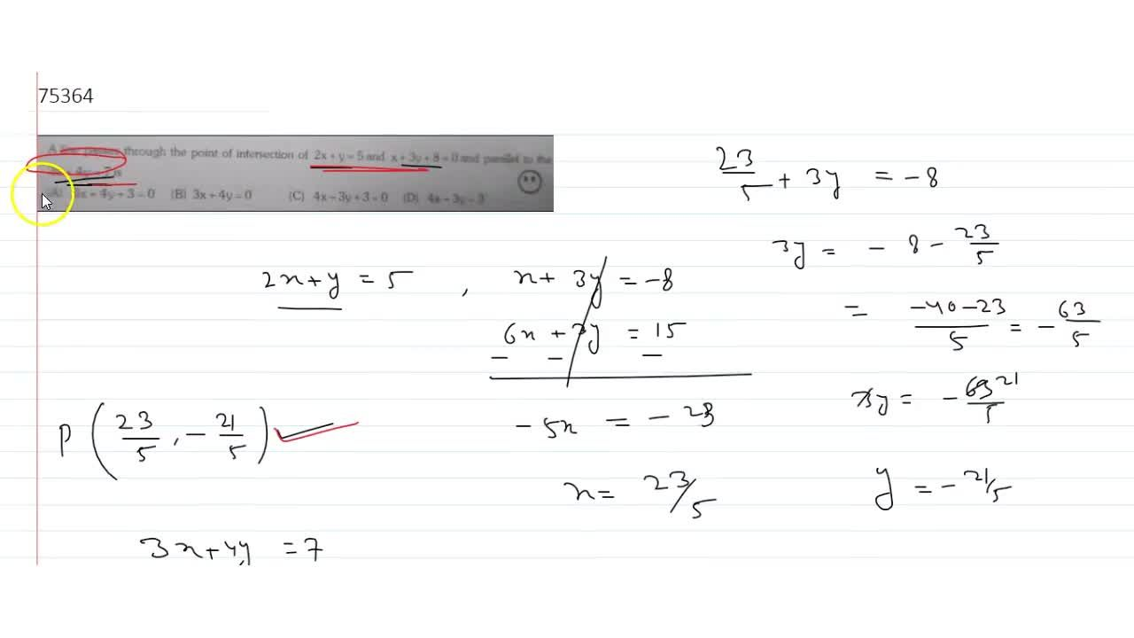 Solution for  A line passes through the point of intersection o