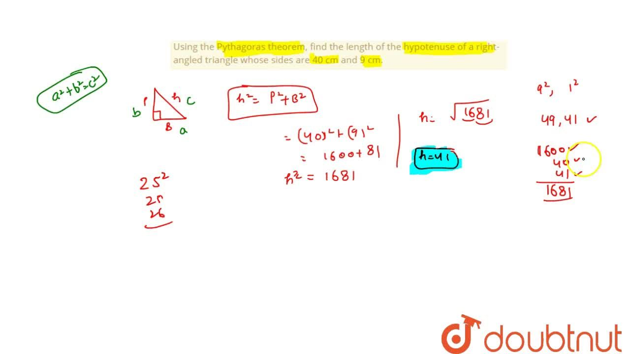 Solution for Using the Pythagoras theorem, find the length of t