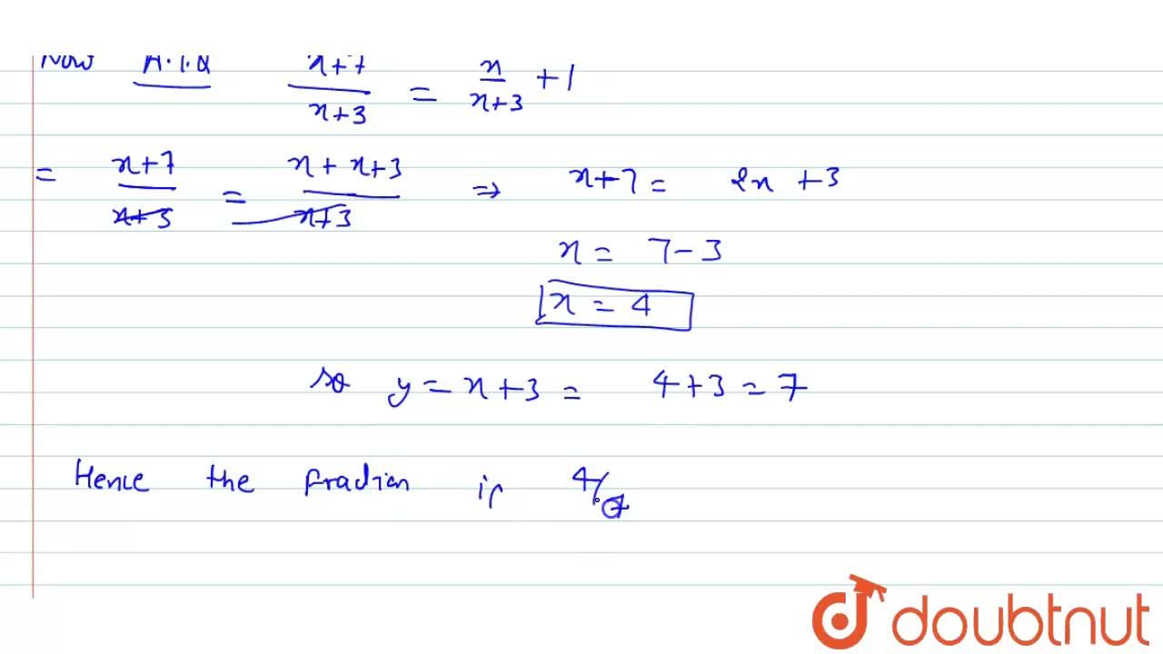 Solution for the denominator of a fraction  exceeds the numerat