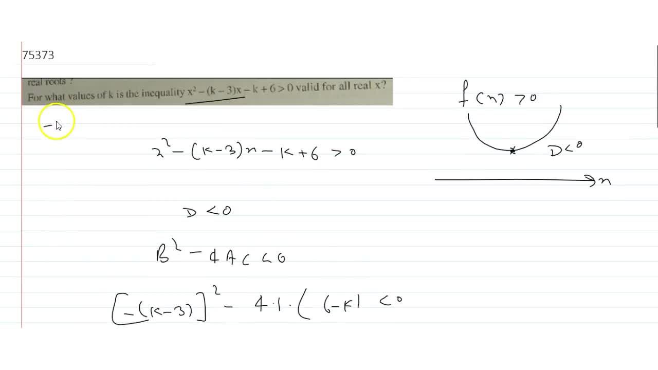 Solution for  For what values of k is the inequality x^2-(k-3)